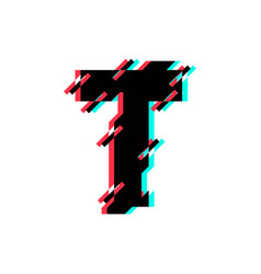 Logo letter t glitch distortion diagonal vector
