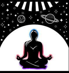 lotus pose in space vector image