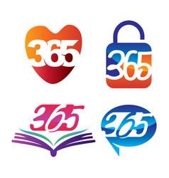Love lock book contact 365 infinity logo icon vector