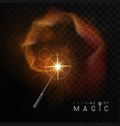 Magic wand with golden glowing shiny trail vector