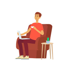 man with laptop and cup sitting in chair cartoon vector image