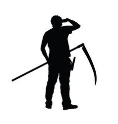 Man with scythe in hand silhouette vector