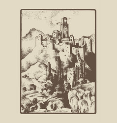 medieval castle in hill in tuskany italy vector image