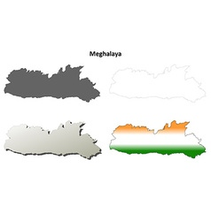 Meghalaya blank detailed outline map set vector