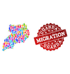 Migration collage of mosaic map of uganda and vector