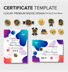 modern colorful certificate design with badge vector image