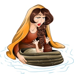 Moses Placed In Water By His Mother vector image
