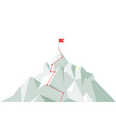 Mountain climbing route to peak business journey vector