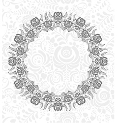 Ornate floral frame in Russian style Gzhel vector