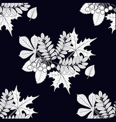 pattern of leaves on a black background vector image
