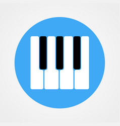 piano keys icon isolated on blue circle vector image
