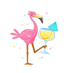 pink flamingo drinking cocktail cartoon kawaii vector image