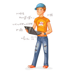 programmer with a laptop vector image