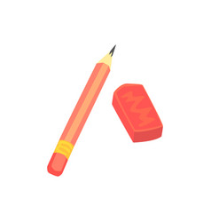 Red pencil and eraser artistic or school vector