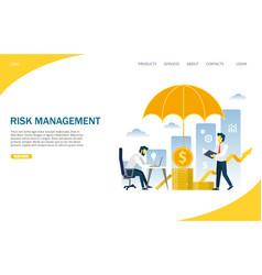 Risk management website landing page design vector