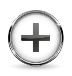 Round 3d button with metal frame plus or add icon vector