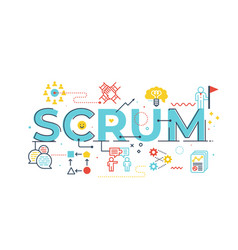 scrum word lettering vector image