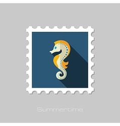 Sea Horse flat stamp Summer Vacation vector image