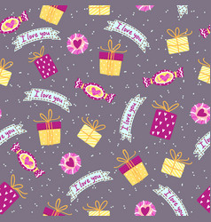 seamless pattern for valentine s day with cute vector image