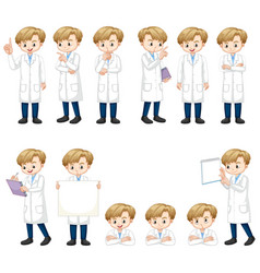 Set boy in science gown doing many actions vector