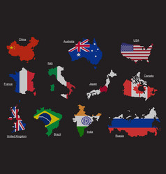 Set countries map flag vector