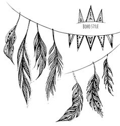 set hand drawn web design elements in boho vector image