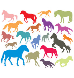 Set of colorful horses silhouettes-3 vector