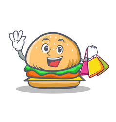 Shopping burger character fast food vector