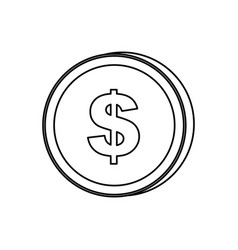 Silhouette coin with dollar symbol icon vector