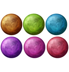 Six colorful balls vector