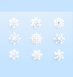 snowflakes with shadow on blue background set vector image