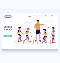 soccer school website landing page design vector image