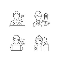 Social status type linear icons set vector