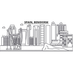 Spain benidorm architecture line skyline vector