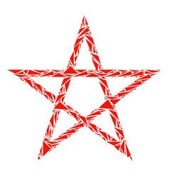 star pentagram mosaic of triangles vector image
