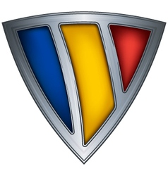 steel shield with flag romania vector image
