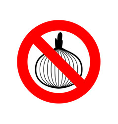 Stop onion acute smell is forbidden red vector