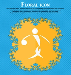 Summer sports basketball icon Floral flat design vector image