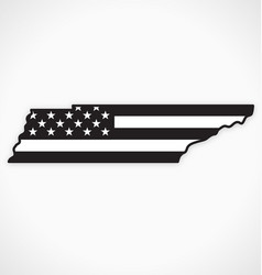 tennessee tn map with usa flag black white vector image