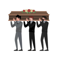 The funeral ceremony men carry coffin in vector