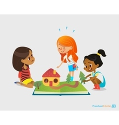 Three young smiling girls sit on floor talk and vector