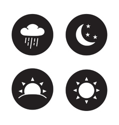 Time of day black silhouette icons vector image