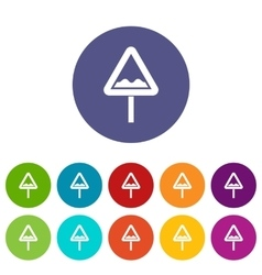 Uneven triangular road sign set icons vector