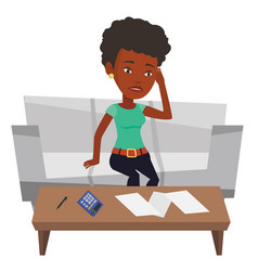 Unhappy african woman accounting home bills vector