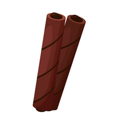 Wafer chocolate roll iconcartoon vector