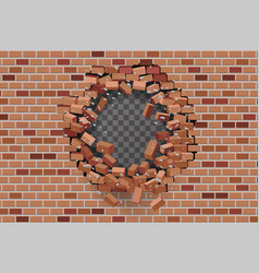 wall hole destruction red brick break template vector image