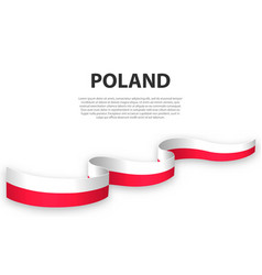 Waving ribbon or banner with flag poland vector