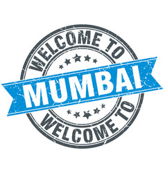 Welcome to mumbai blue round vintage stamp vector