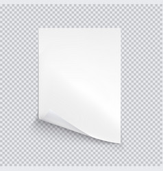 White sheet of paper on transparent background vector