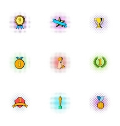 Win icons set pop-art style vector image